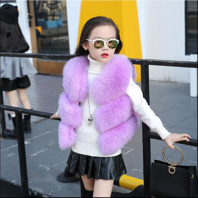 Chaleco de imitación de piel de zorro abrigo de piel de los niños niñas otoño y el invierno nueva pequeña y mediana chaleco chaleco bebé de la capa