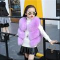Colete de pele de imitação de pele de raposa casaco meninas das crianças outono e inverno casaco novo colete bebê de pequeno e médio porte