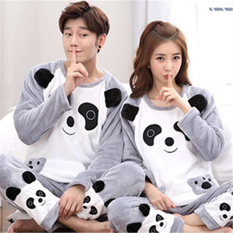 Cartoon Panda   Pajamas     Set   Winter Flannel Lovers 2PCS Sleepwear Thicken Warm Nightwear Long Sleeve Shirt&Pants Home Clothes