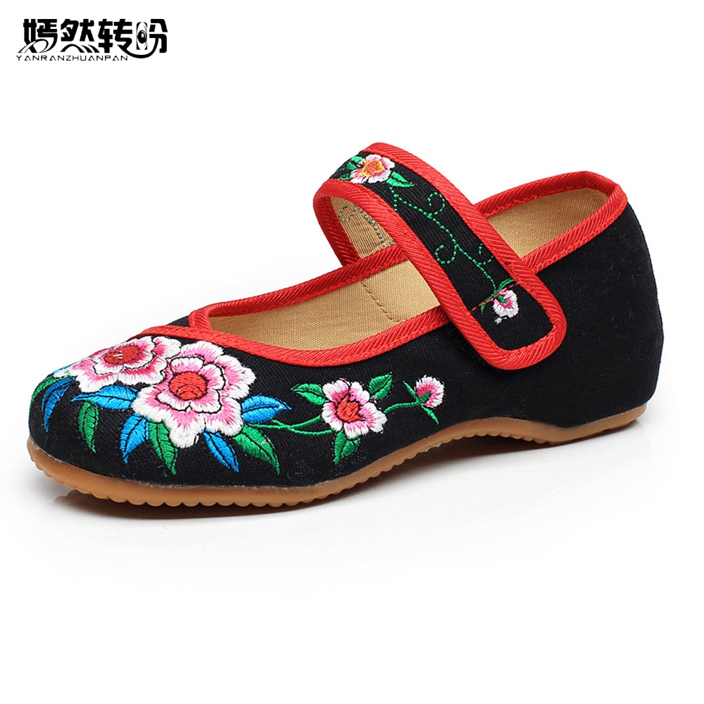 New Fashion Chinese Style Floral Embroidery Soft Sole Women's Old Peking National Flat Cloth Shoes Dancing Shoes wegogo women flats shoes old peking mary jane phoenix floral embroidery soft sole zapatos de mujer ballet flat plus size 41