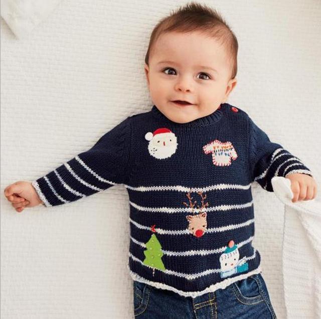 2017 Детские Мальчики Девочки Свитер Детей Малышей Unisex Зима Осень детские одежды младенца Рождество стиль свитер мальчик свитер