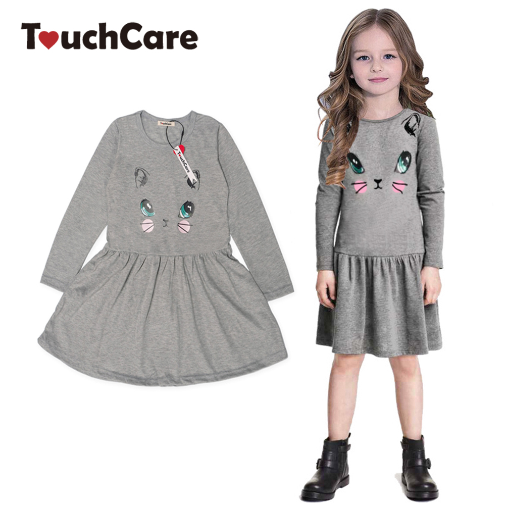 TouchCare Kitty Print Baby Girl Dresses Autumn Winter Girls Clothes Cute Kids Girls Clothing Long Sleeve Children Princess Dress baby girls knitted sweater clothing dress 2017 autumn winter new long sleeve cute cartoon pattern girl dress children clothes