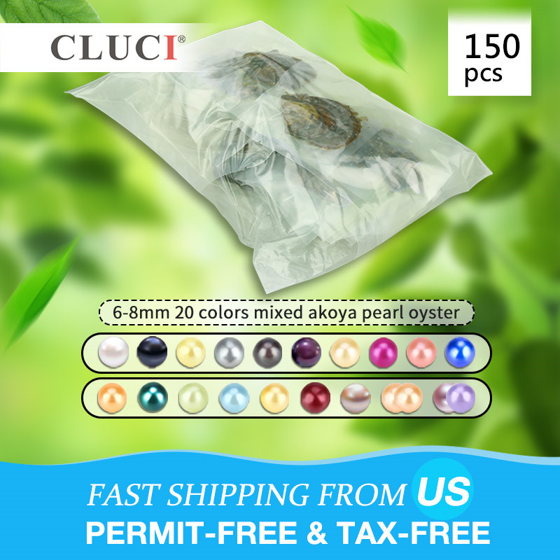 CLUCI 150pcs 6 8mm Mix 20 Colors Natural Round Akoya Pearls Saltwater Beads Vacuum Packed Oysters