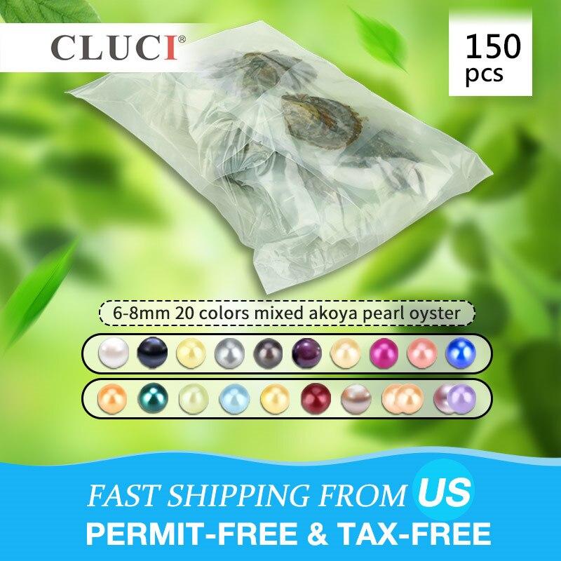 CLUCI 150 pcs 6-8mm Mix 20 Colori Rotonda Naturale Perle Akoya AAA Perle di Acqua Salata Sottovuoto Ostriche con Perle