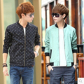 Free shipping 2016 spring and autumn new Korean version Fashion casual stand Collar Polka Dot Men's jackets cheap wholesale