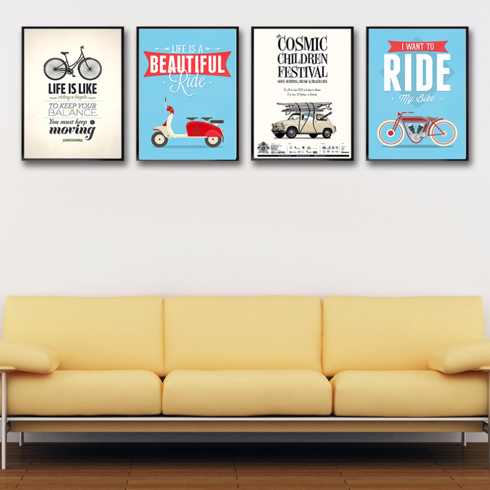 Vintage Retro Bicycle Motivational Quotes Typography Art Print ...