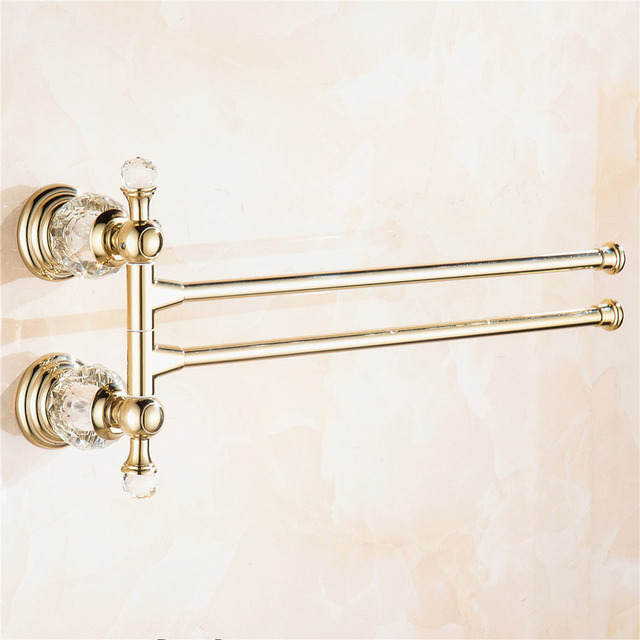 Auswind Antique Polished Gold Crystal Brass Towel Rack 2 Arms Wall
