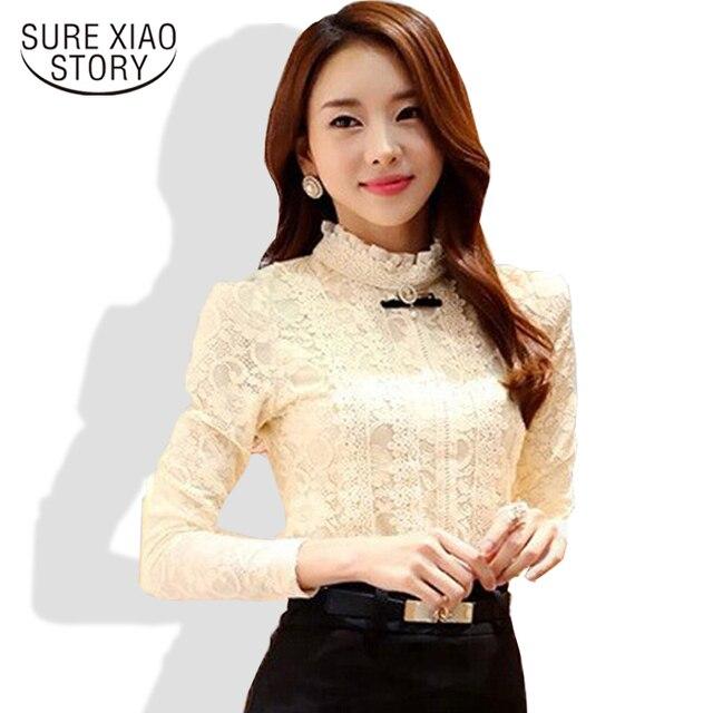 2015 новый высокое качество женщин моды кружева блузка рубашки осень и зимой Плюс толстый бархат теплой Дна рубашки Blusas 999 20