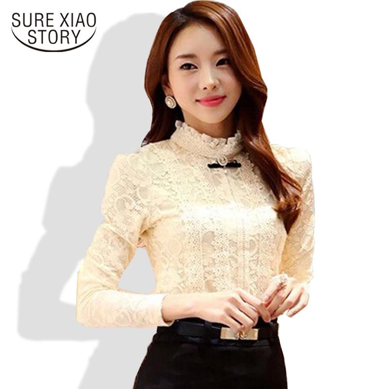 2015 nuevo de alta calidad mujeres moda de encaje blusa camisas de otoño y el in