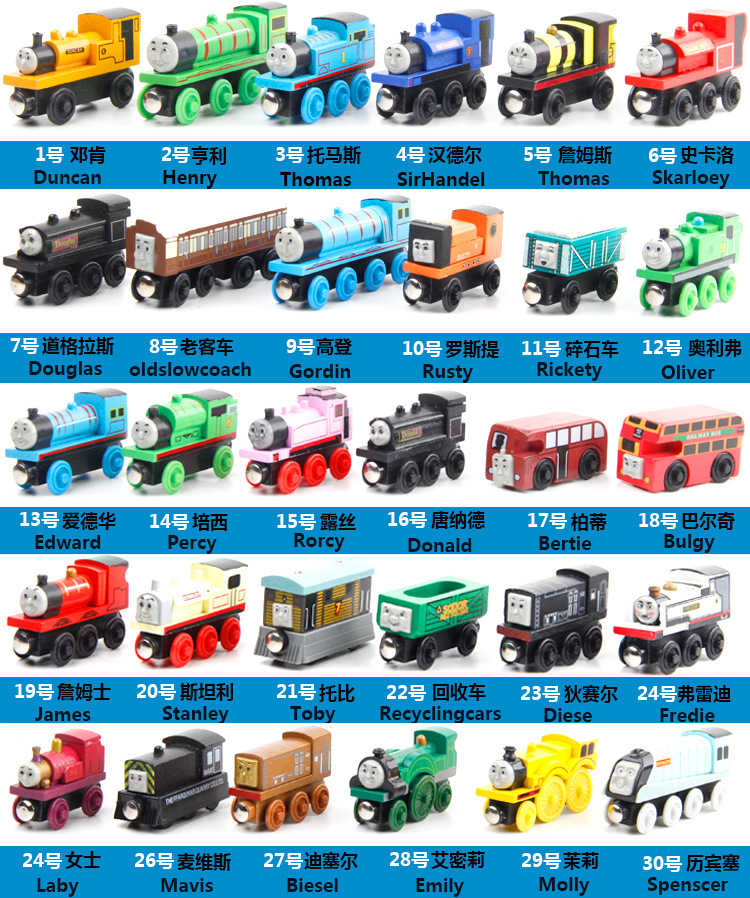 53 Model 1Piece New Thomas Anime Wooden Railway <font><b>Trains</b></font> Toy Model Great Kids Toys for Children Christmas Gifts image