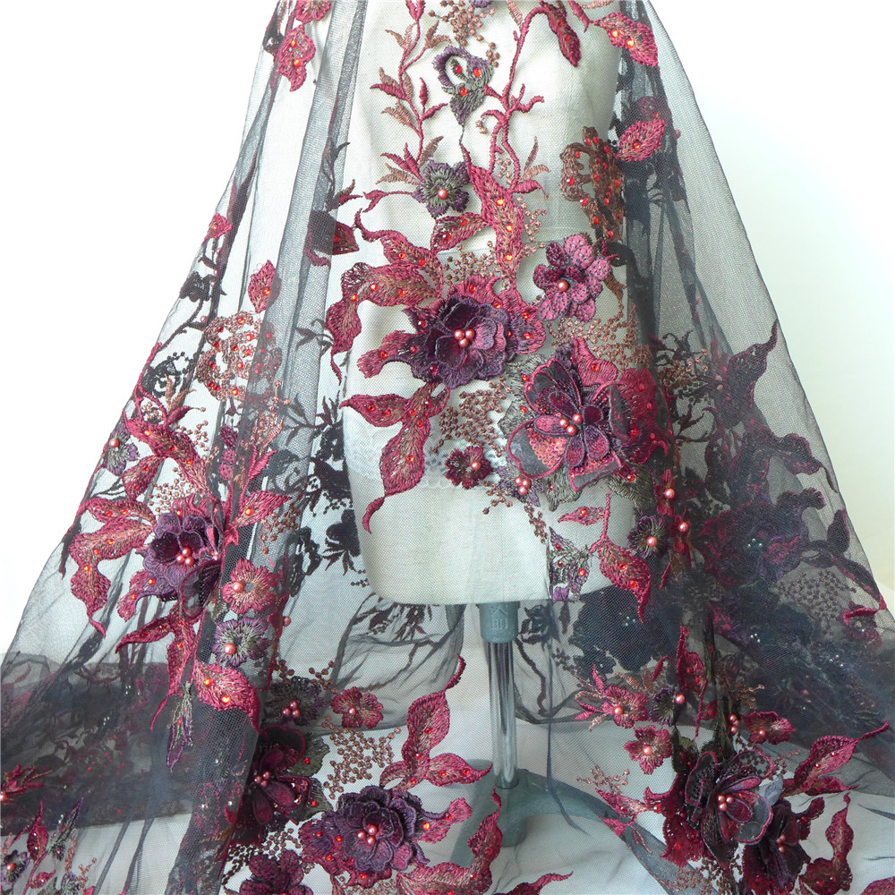 Delicate Wine Red Black 3d Flower Embroidered Tulle Mesh