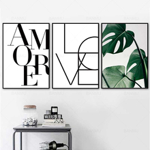 Nordic Scandinavian Style Love Poster Black and White Canvas Painting Amore Wall Pictures For Living Room Home Decoration Art
