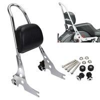 Neverland Motorbike Passenger Backrest Pad Black Silver Metal Sissy Bar Cushion For Harley Iron Sportster XL1200