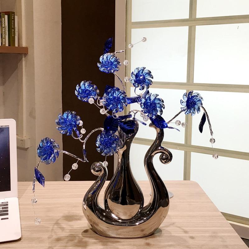 Nordic modern Artificial Crystal flower Home Decoration Crafts creative ceramic vase decorations Wedding Ornaments