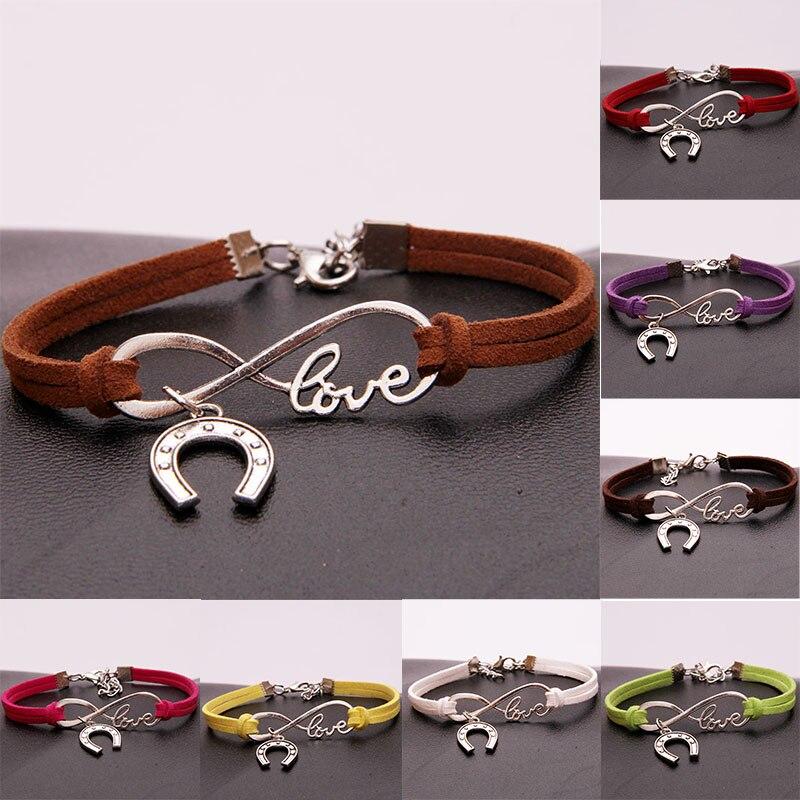 Chain & Link Bracelets 5 Colors Fashion Popular 1 Pc Women Man Charming Popular Horses Jewelry Braided Handmade Bracelets Gift Leather Bracelets