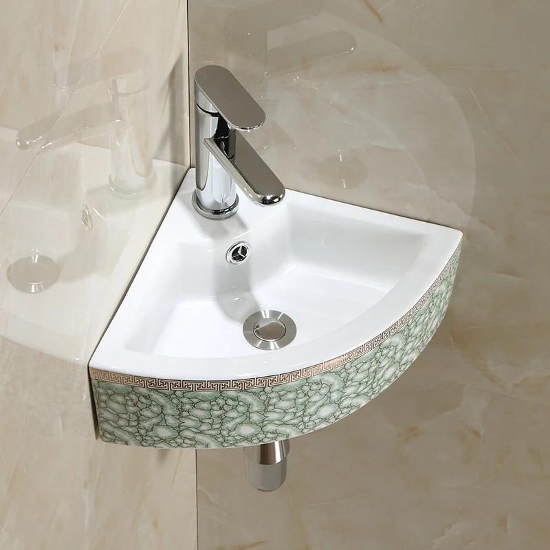 lavabo d angle en ceramique petit meuble de salle de bain triangulaire balcon mural lavabo pour appartement lx11191408
