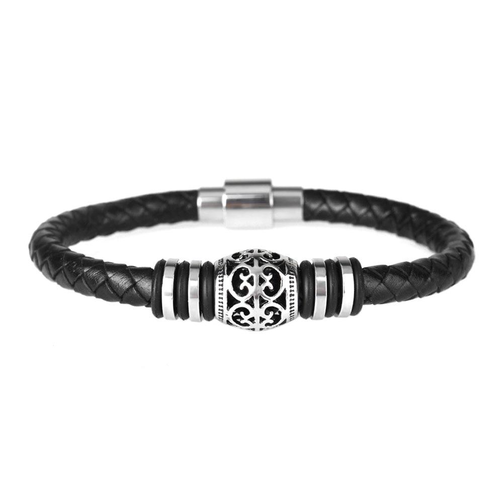 Kirykle Punk hommes bracelet décontracté és en cuir noir Bracelet en acier inoxydable Bracelets en cuir de vache à la main bracelet perlé