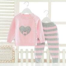 Autumn Baby Girls Kids Infants Children Knitwear Knit Jacket Coat Cardigan Sweater Outwear Top+Striped Pants Clothing Sets S5700