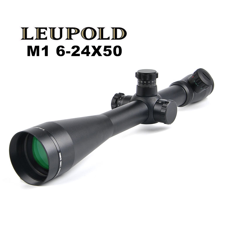 LEUPOLD 6-24x50 M1 Hunting Scopes Optics Rifle Scope Red and Green Illuminated Riflescope Tactical 11mm / 20mm Rail Sight 6 24x50 red