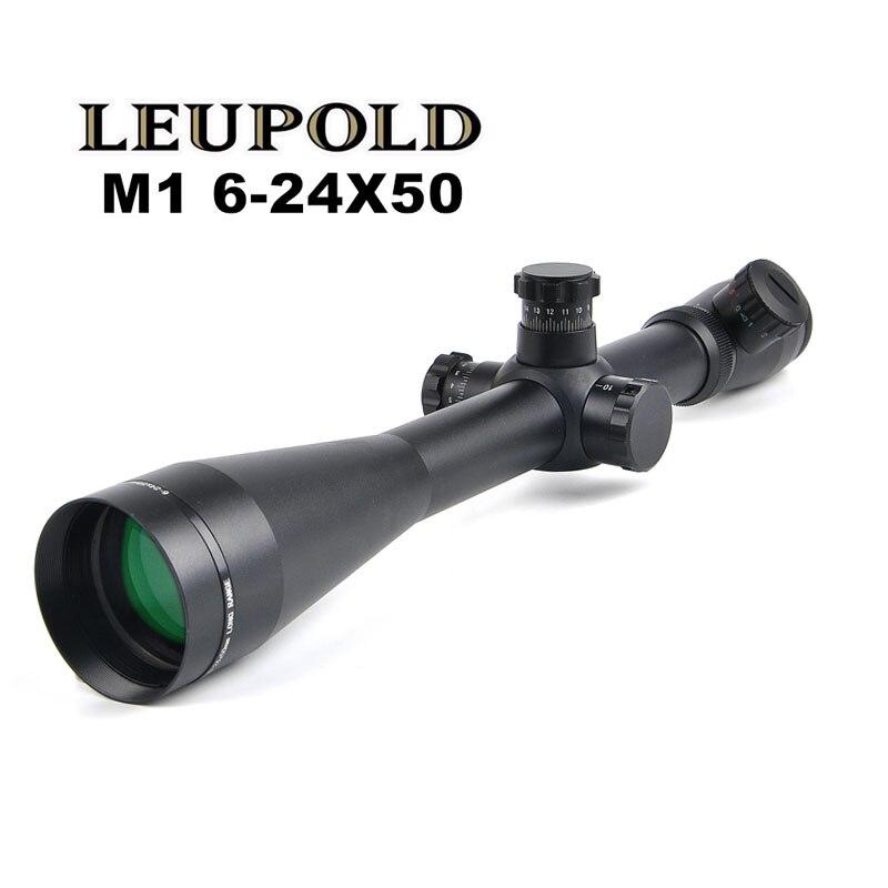LEUPOLD 6-24x50 M1 Hunting Scopes Optics Rifle Scope Red and Green Illuminated Riflescope Tactical 11mm / 20mm Rail Sight