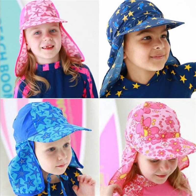 Children Summer Swim Cap Sunscreen Cap Cosplay Sunhat Boys Girls Big eaves Seaside Protection Neck Anime