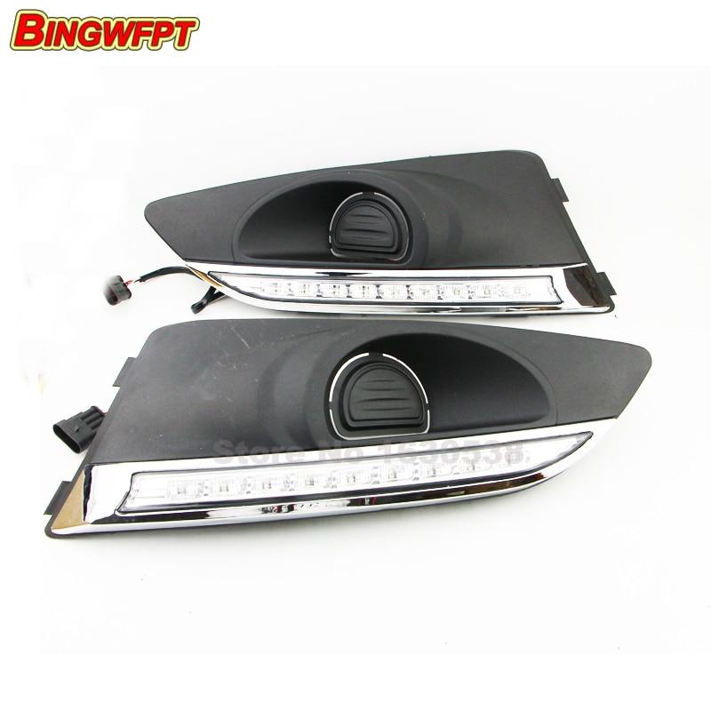 12V car LED DRL Daytime Running Lights fog lamp for Chevrolet Chevy Aveo Sonic 2011 2012 2013 недорого