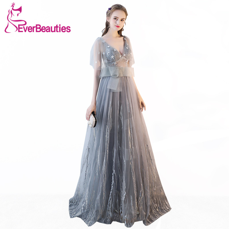 Evening     Dress   2019 Light Grey Tulle with Lace Deep V-Neck Long Prom Party   Dresses   Bride Banquet Robe De Soiree Abiye