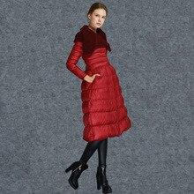 2015 high quality luxury fashion down coat female slim fashion medium-long patchwork white duck down coat
