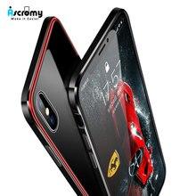 Ascromy iPhone X kılıf için lüks darbeye dayanıklı Metal tampon alüminyum şeffaf cam kapak iPhone XS için Max XSMAX aksesuarları