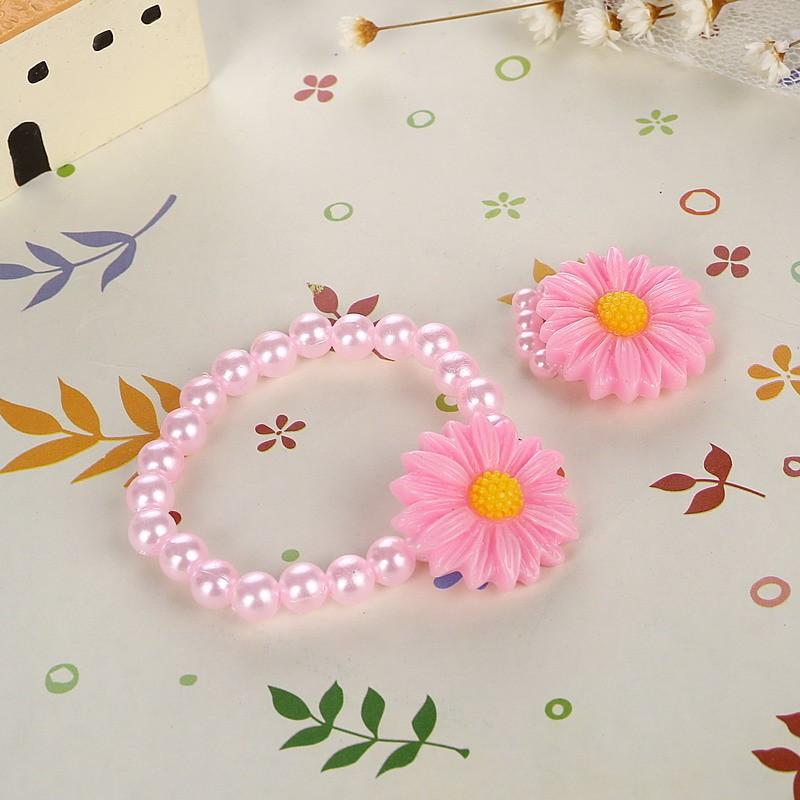Friendly Resin Infant Nice Baby Flower Necklace Bracelet Finger Ring Set Kids Jewelry Set Children Accessories Handmade 5