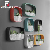 Simple Wall Vase Succulent Plant Potted Wall mounted Multifunction Square Iron Glass Flower Pot Creative Bonsai Ornament Decor