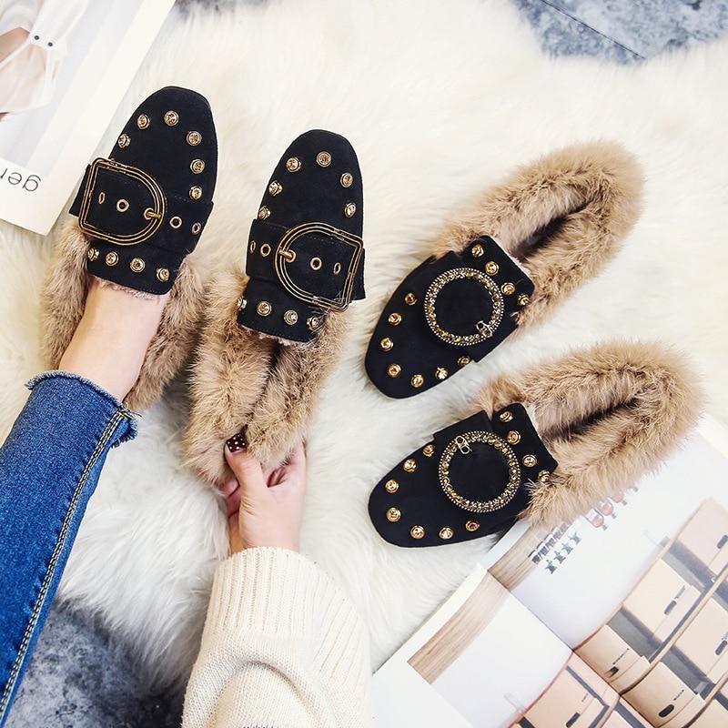 Creepers De Slip Estilos Gamuza 34 1 43 On Pisos Invierno Felpa Cinturón Decorar Mujeres Zapatos 2 Mocasines 2 Hebilla Cuero Piel Cristal UqzXwX