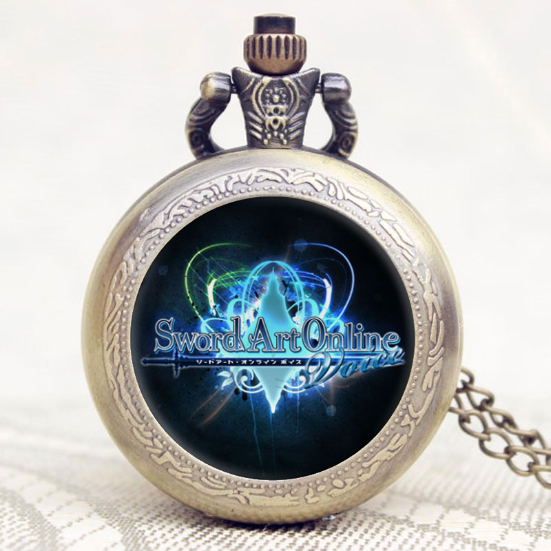 Hot New Arrival Sword Art Online Retro Relogio De Bolso Beautiful Antique Vintage Pendant Pocket Watch Necklace Chain Clock catalog online ziar de cluj