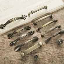 Antika kapı kolları ve topuzlar Metal çekmece Pulls Vintage mutfak dolap kolları ve kolları mobilya donanım kolları