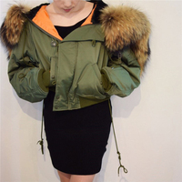 Chic Winter parkas Army Green bomber jacket Large Fur Colloar Hooded Women coat Padded zipper chaquetas biker outwear AO162