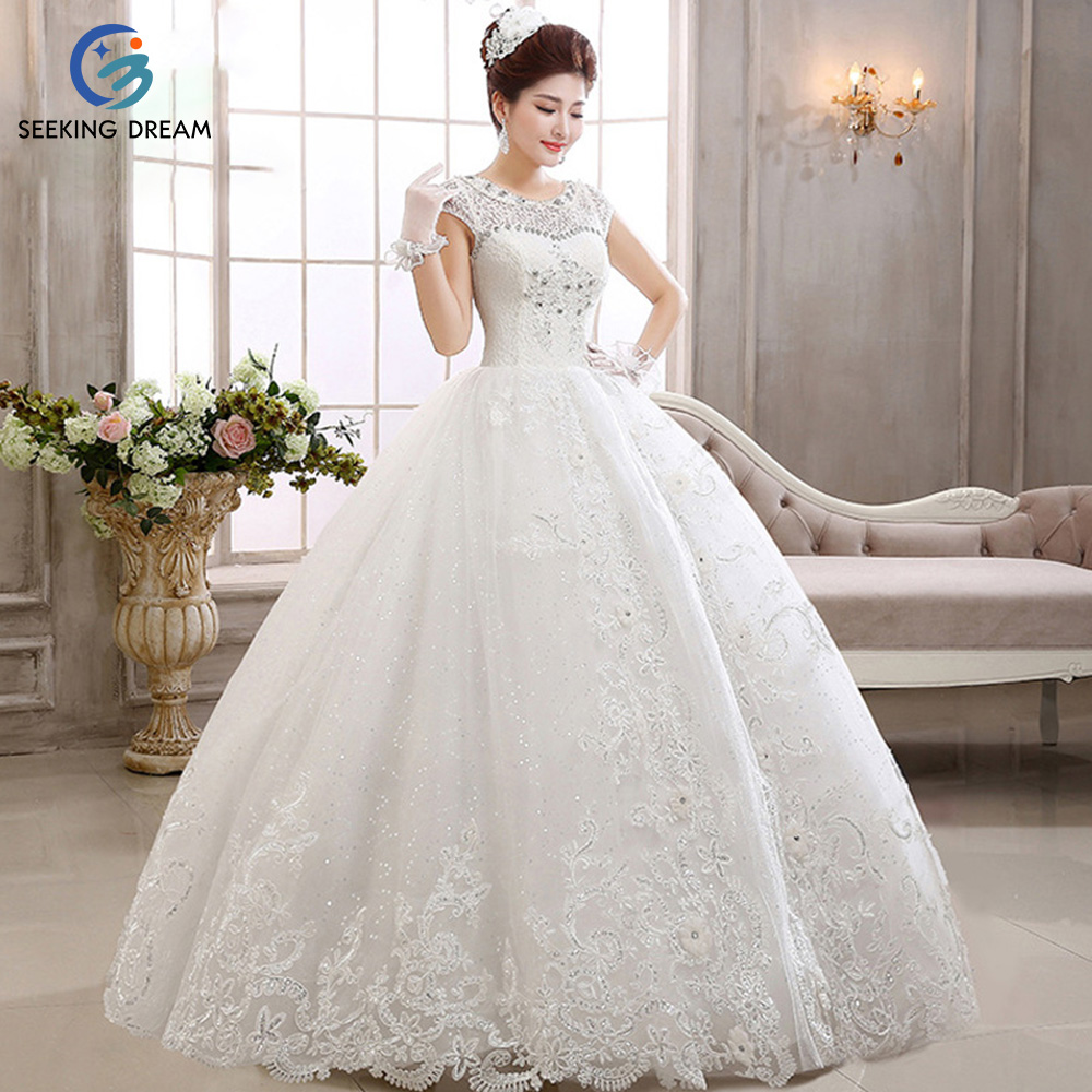 2017 Y Ball Gown Dress Lace Ivory White Wedding Dresses Elegant Bride Princess Crystal Beading Gowns Customize Hs410 In From