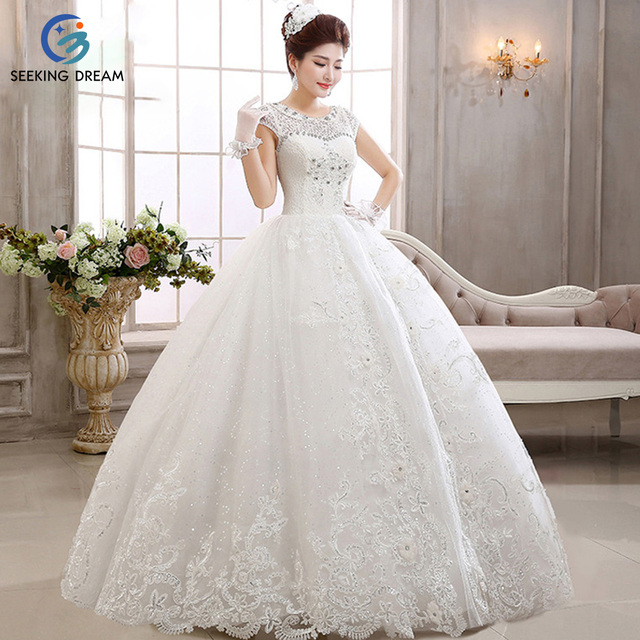 2017 Y Ball Gown Dress Lace Ivory White Wedding Dresses Elegant Bride Princess Crystal Beading