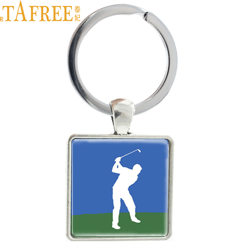 TAFREE Brand golf sports keychain i love golf statement Square key ring vintage golf player silhouette art men jewelry NW01
