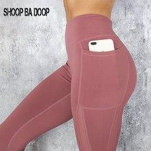 SHOOPBADOOP Gym Sport Women Yoga Pants Mesh Fitness Bodybuilding Phone Pocket Leggings Workout Tights S-XL