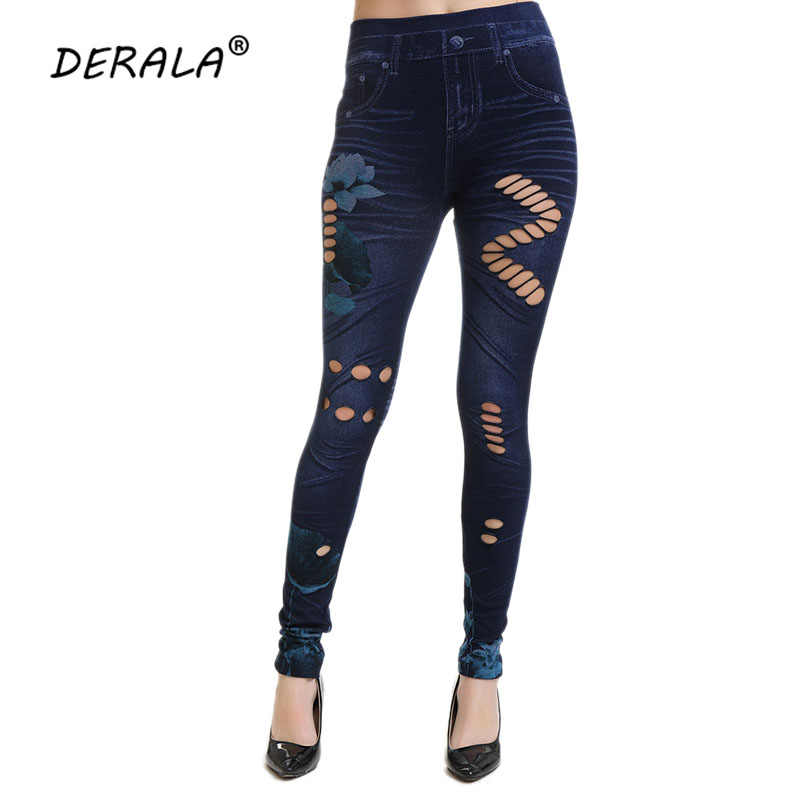 9c69a3efc59 Detail Feedback Questions about DERALA Denim Skinny Ripped Jeggings High  Waist Elastic Jeans Leggings Cut Out Hole Legging Stretch Slim Pencil  Trousers ...