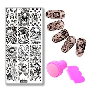 Devil с Angel Girl Story пластина с изображениями для нейл-арта + розовый скребок для стемпинга, шаблоны для черепов, DIY шаблоны для красоты ногтей, шаб...