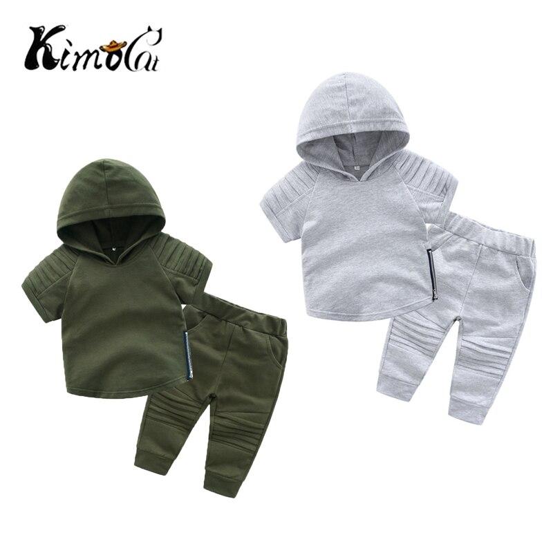 Kimocat kinder hoodie jungen kleidung kurzarm baumwolle anzug version von kinder zwei-stück herbst neue kinder dame bug