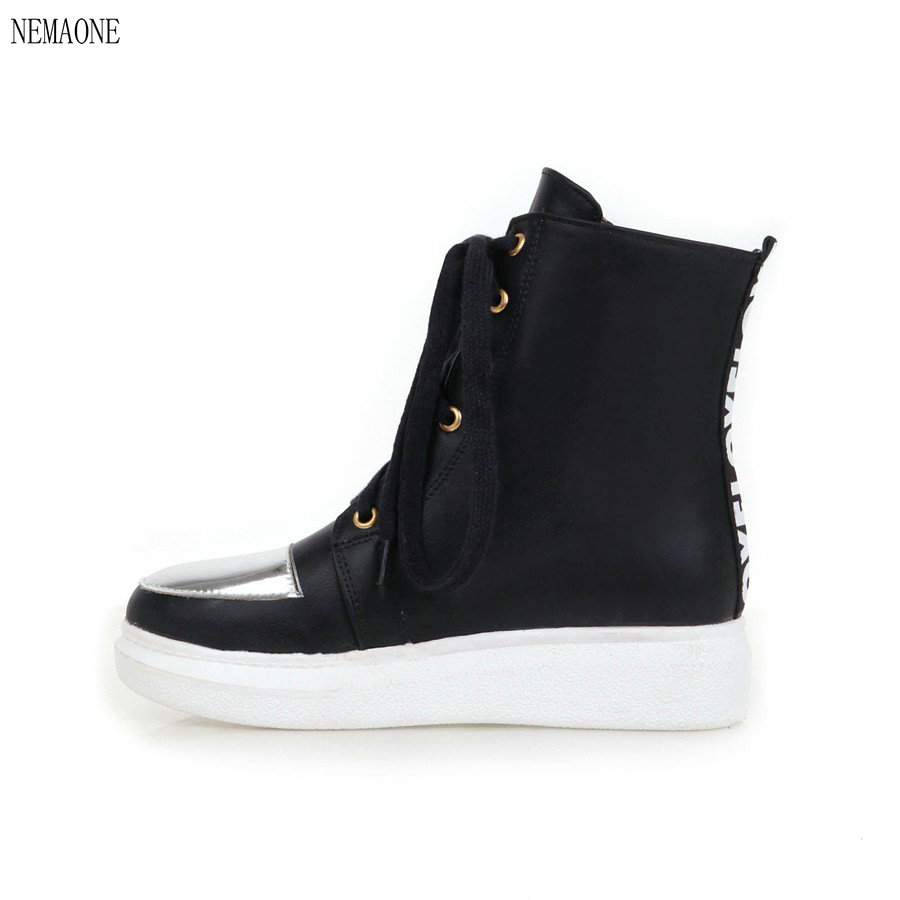 NEMAONE winter shoes pu leather boots women shoes warm boots lace up black white winter  ...