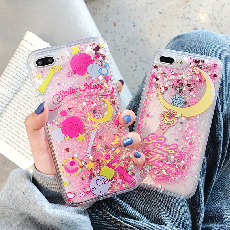 Cartoon Flower Sailor Moon Pretty <font><b>Girl</b></font> Glitter Star Flowing Quicksand Liquid Case <font><b>for</b></font> <font><b>iPhone</b></font> X XS MAX XR <font><b>6</b></font> 6S 7 8 Plus <font><b>Cover</b></font> image