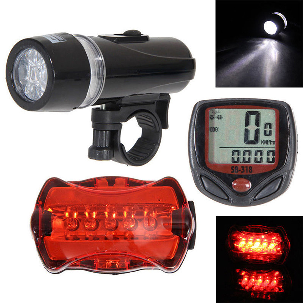 New  Fashin Outdoor Product Bicycle Speedometer + 5 LED Mountain Bike Cycling Light Head + Rear Lamp New 20