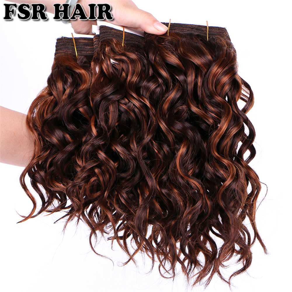 "8""-20"" Synthetic Curly Hair Weave 100g Bohemian hair bundles Synthetic P color Hair double Weft Extensions for women"