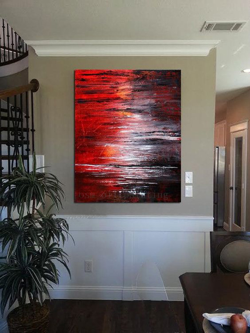 Hand Painted Living Room Decor Hang Picture Teal Orange Grey Wall Art on Large Size Seascape Oil Painting on Canvas by Hand Made