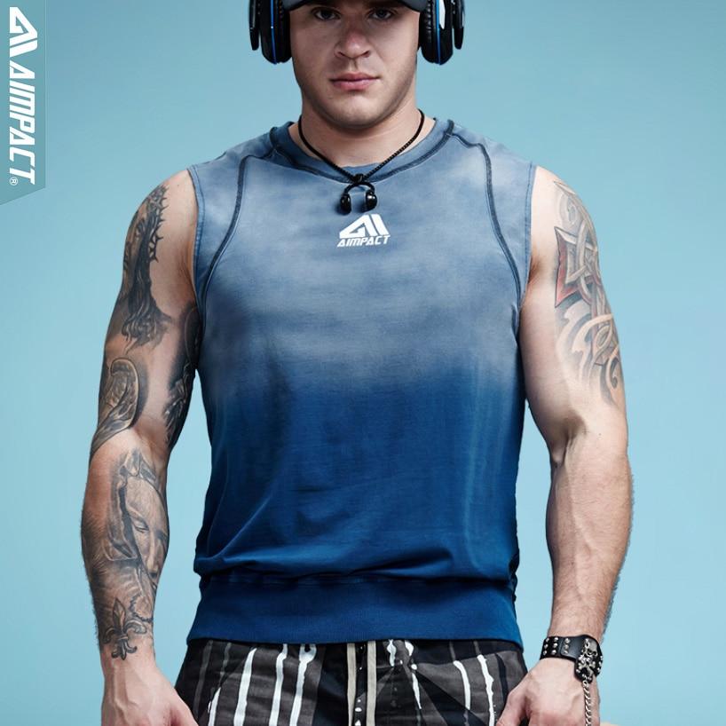 Aimpact Mens Gradient Tank Tops Bodybuilding Clothing Fitness Vintage Men Crossfit Workout Tank Top Sleeveless Tank 2018 AM1002