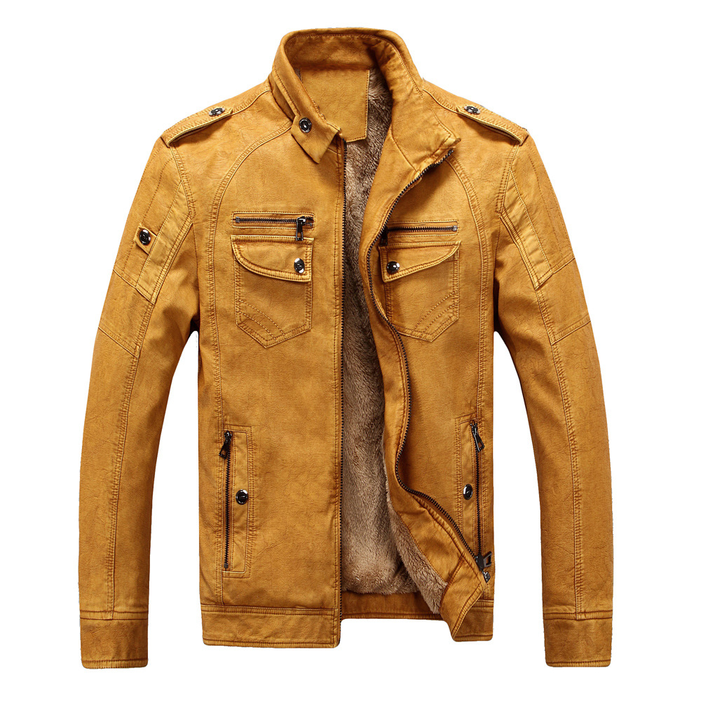 Winter Mens Flight Jacket Plus Size 3xl 4xl Long Sleeve Faux Leather Loose Vintage Pu Leather Yellow Thick Warm Jacket Male Coat