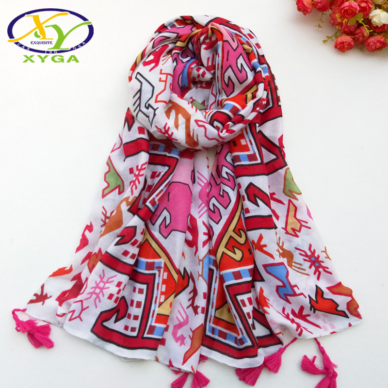 1PC Women Cotton Long Scarf Tassels 2019 Spring Female Polyester Soft Shawls Ladies Ethnic Style Wraps Autumn Muslim Scarves in Women 39 s Scarves from Apparel Accessories